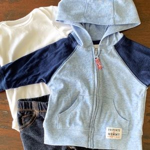 Carter's Blue Hoodie Baby Boys 0-3 Months